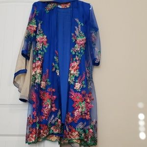 Dresses & Skirts - Royal blue dress topped with beautiful beaded coat